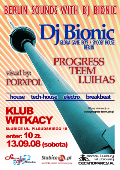 Berlin Sounds With Dj Bionic w klubie Witkacy